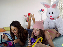 Easter bunny crempies stepsis and fucks her BFF in funny threeway