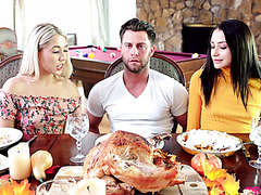 Slutty stepsisters turn family dinner into hot threesome on table