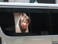 Kei Mizushima, tight JAP babe, loves risky public sex in minivan