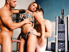 Jolee Love, voluptuous German MILF, rewarded with creampies after DP gang bang