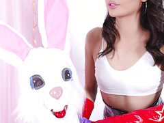 Latina babe in latex Emily Willis gets fucked by Easter Bunny