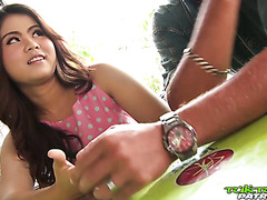 Naive chubby Thai teen Meena gets her super hairy cunt railed