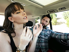 Tricky guy crushes Dana DeArmond's pussy in a fuck truck