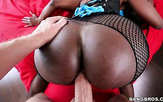 White monster cock visits both holes of thick ebony MILF Diamond Jackson