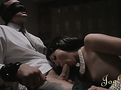 Blindfolded guy receives a blowjob and fucks that English hoe