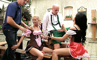 Oktoberfest party turns into crazy orgy with three Czech girls