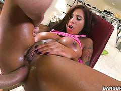 Butt fun and anal creampie with tanned sex bomb Stacy Jay