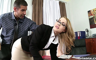 Boss punishes Kandall spanking and fucking her in the butt
