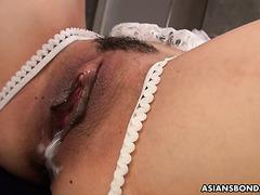 Tiny Japanese Haruna Ikoma's 2x creampie & 3x facial gang bang