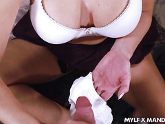 Stepmother Mandy Flores jerks off stepson and gets cum on panties