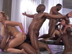 Euro MILFs Cherry Kiss & Malena Nazionale DPed by huge black dicks in orgy