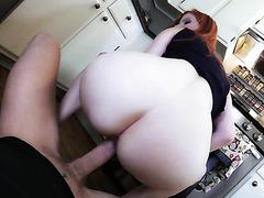 MILF housewife Lady Fyre fucks milk boy in the kitchen - POV