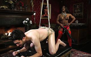 Black bodybuilder mistress Kelli Provocateur punishes her white slave