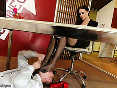 Experienced secretary Chanel Preston fucks younger colleague in office