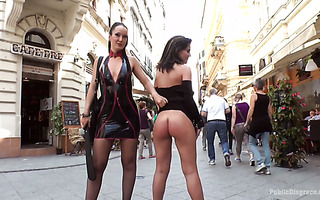 Mistress and her submissive girl doing nasty BDSM things in public