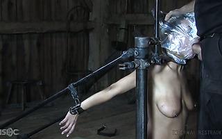Tide up Lyra Louvel wird von ihrem Meister mit einem Dildo gefickt