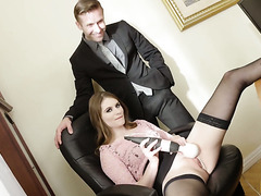 Dude fucks Alice March the gorgeous masturbating secretary