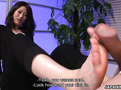 Japanese interrogator Mitsuki rubs her ass against a dick to get information
