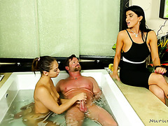 Cuckquean Romi Rain treats her hubby with young masseuse Sara Luvv