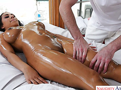 Abundantly oiled Priya Price gets doggystyle fucked by her masseur
