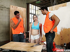 Jenna J Ross gets fucked by two builders at construction site
