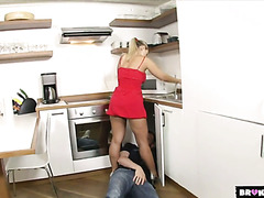 Marketa fucks a lucky plumber with her hot tits and pussy