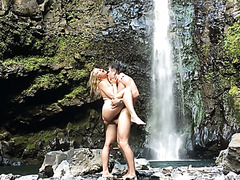 Enamoring Anikka Albrite makes love by the waterfall