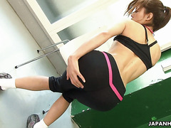 Beautiful Aoi Mikami plays with her shaved pussy during exercises