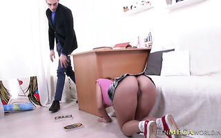 Russian college girl Mila gets ass fucked by her dissolute teacher