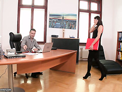 Vanessa Decker fucks her boss cause she can't do anything else