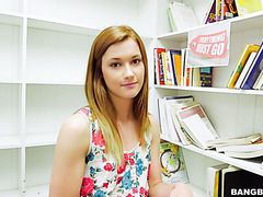 A guy shows his fuck skills to nerdy Alaina Dawson in a bookstore in POV