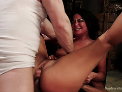 Bondaged London River takes multiple dicks of her reckless masters