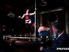 Samantha Bentley stripteases and fucks her regular customer