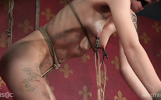 Tied up whore Billy Nyx gets toyed hard until she orgasms