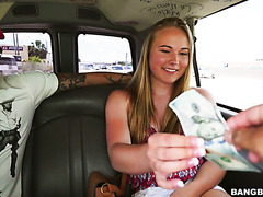 Slutty 18 y.o. Alyssa Cole fucks huge dick in fuckvan for money