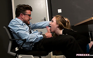 Anna Darling flirts with a colleague and fucks him in office