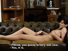 Beautiful virgin Bella Beretta exposes perfect body and rubs her clit