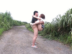 Miniature Mao Mizusawa gets fucked by two men on a country road