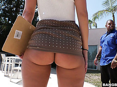Big ass realtor Candice Dare fucks black guy and drinks his cum