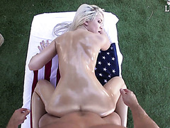 Lubed Ashlee Mae gets fucked on flag with starts and stripes