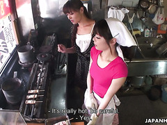 Akubi Yumemi gets toyed by a chef and his wife Hitomi Kanu at Japanese eatery