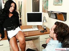 Office slut Morgan Lee jumps on her colleague's dick