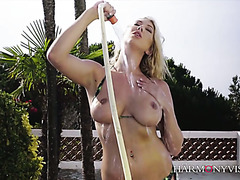 Busty Lexi Lowe gets nailed on a car she just washed