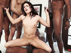 Big black stepbro and his homies gangbang lovely Nikki Knightly